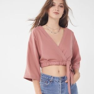 Urban Outfitters Pink Kimmy Linen Wrap Top